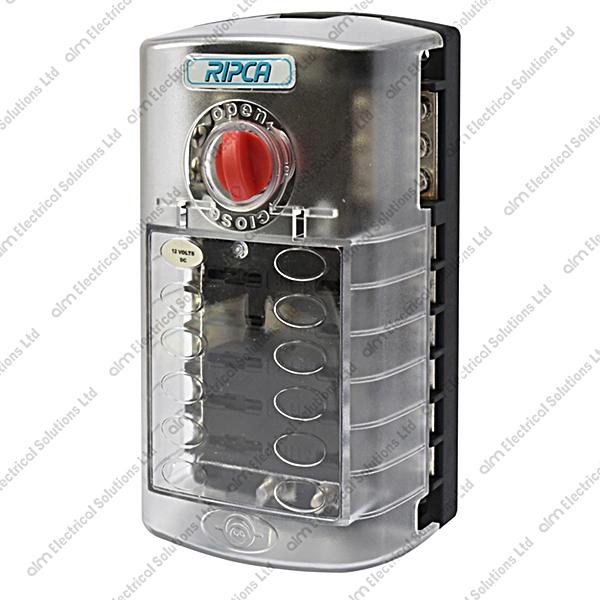 5026B - 12 Way Marine Type Fuse Box With Dual Bus Bar  Cover 12 WAY