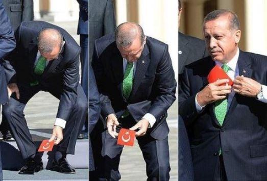 اردوغان يرفع علم تركيا
