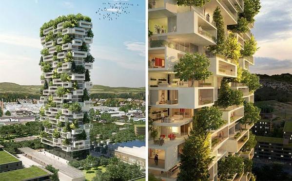 برجاً سكنياً تغطيه الأشجار بالكامل