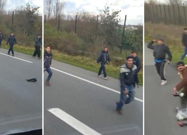 سائق أوروبي يحاول دهس لاجئين