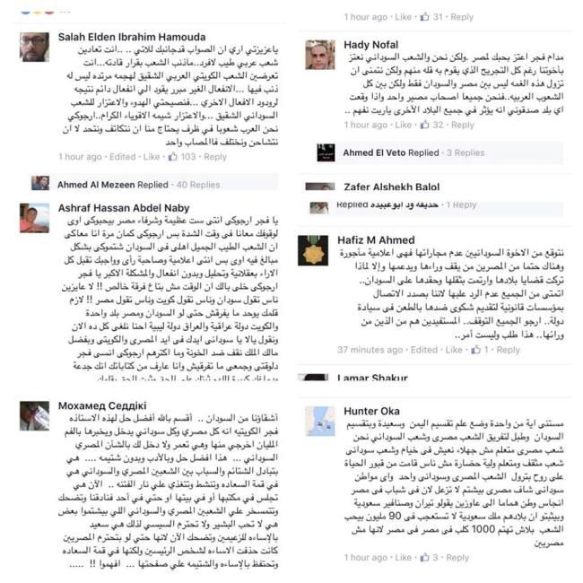 """مصريون يرفضون إساءات الإعلامية الكويتية """"فجر"""" للسودان..ويطالبونها بالابتعاد عن الشأن المصري السوداني"""