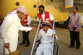 اليمن ترسل 48 من جرحى المقاومة بتعز للسودان