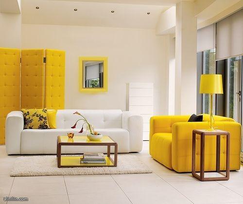 غرفه جلوس باللون الاصفر
