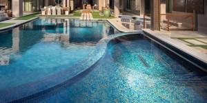 Alpentile mosaic swimming pool banner