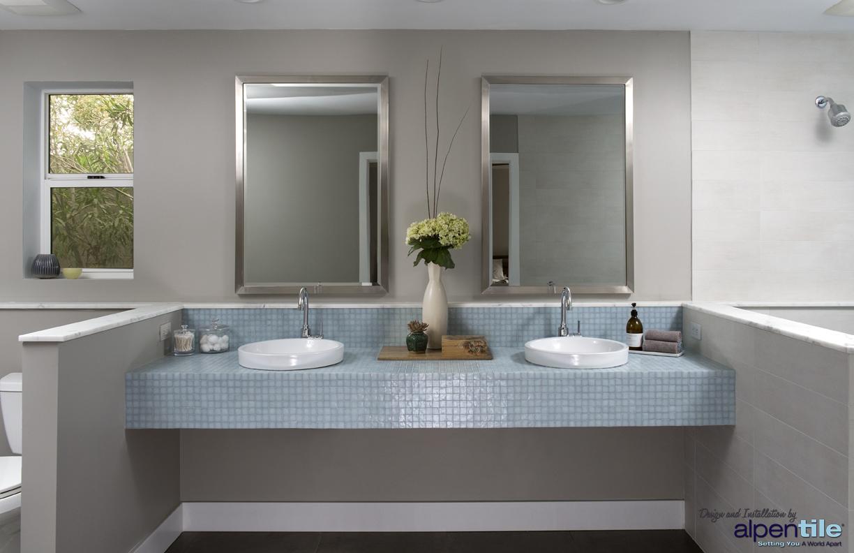 Glass tile bathroom countertop - Glass Mosaic Countertop