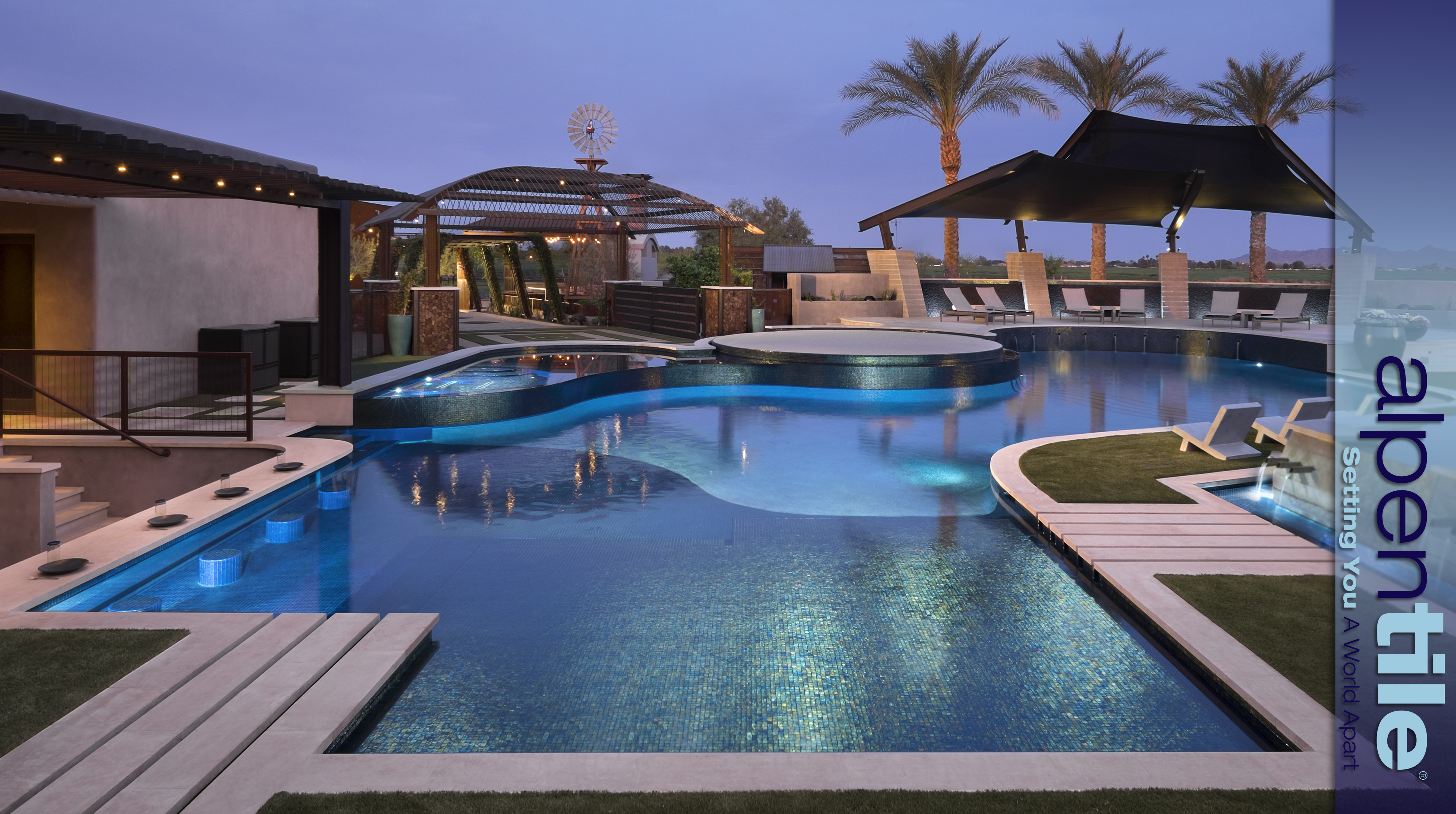 All the right curves alpentile glass tile pools and spas for Glass swimming pool