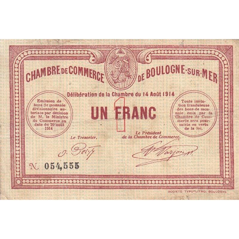 Billet des chambres de commerce - Boulogne-sur-Mer - 1 franc
