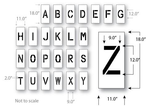 Letter Stencil Kit, 12 inch, Reusable Maxi Thick Plastic, Pavement