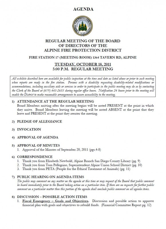 Alpine Fire Board Meeting AGENDA for October 18, 2011 - board meeting agenda