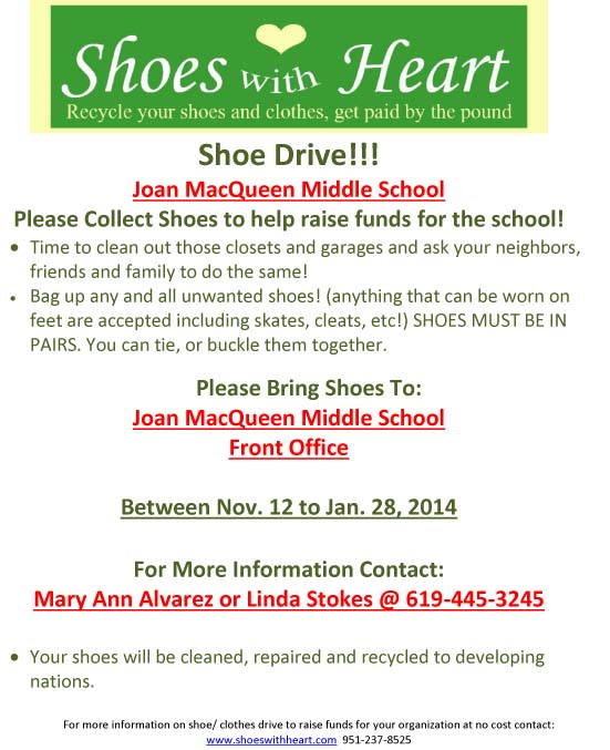 JMMS SHOE DRIVE FUNDRAISER - Only a few Days Left! ENDS ON JANUARY