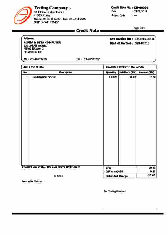 Alpine Tech  Sales Credit Note - credit note letter