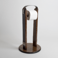 Stand-Alone Toilet Roll Holder, Band Accents, Dark Walnut ...