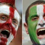 England and Italy fans