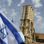 An Arrow II missile interceptor is displayed in front of journalists in the Palmahim military base south of Tel Aviv