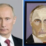 Vladimir Putin in an official portrait alongside his likeness by George Bush