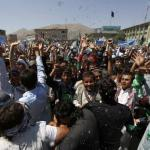 Afghans shout slogans during a protest to support presidential candidate Abdullah Abdullah, in Kabul