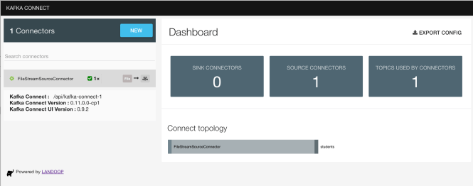 Kafka Connect UI - Dashboard