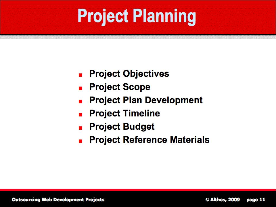 Outsourcing Tutorial - Project Planning - project planning