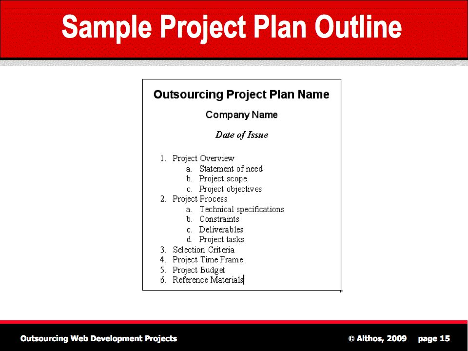 Outsourcing Tutorial - Sample Project Plan Outline - Project Plan Sample