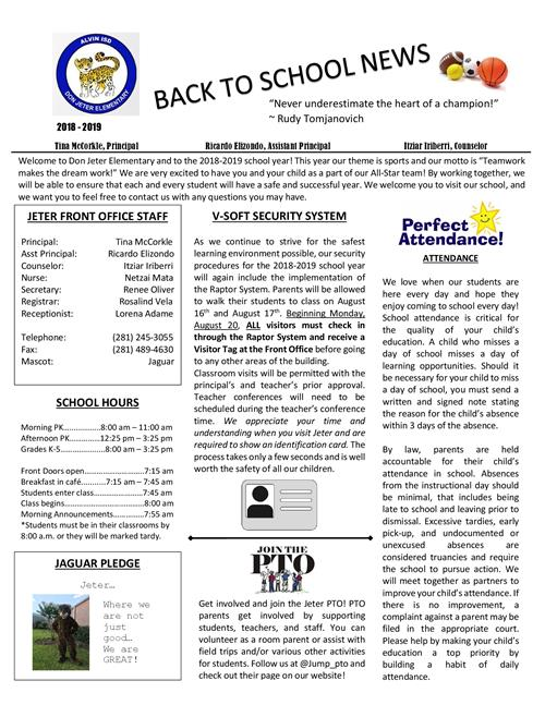 Parent Resources / Back to School Newsletter