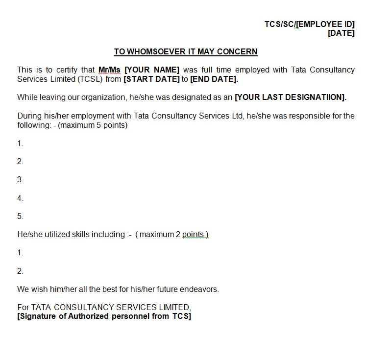 Leaving TCS Onsite - Skill Letter for Green Card - AM22 Tech - work certificate template letter