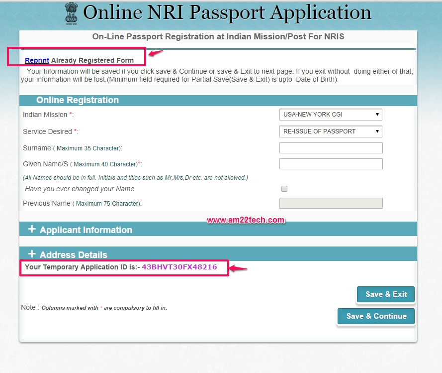 Sample NRI Passport Form \u2013 India Government - AM22 Tech