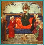 Prophet Muhammad on his prayer rug Persian Amaana.org