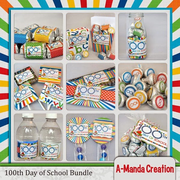100th Day of School Party Printables Amanda Creation