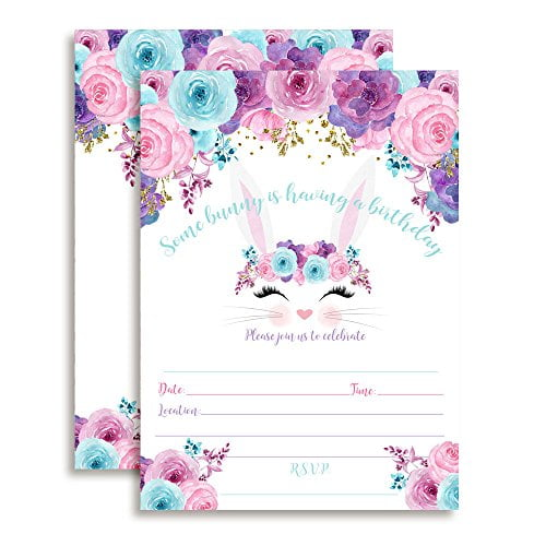 Bunny Face with Pink Blue and Purple Watercolor Flowers Easter