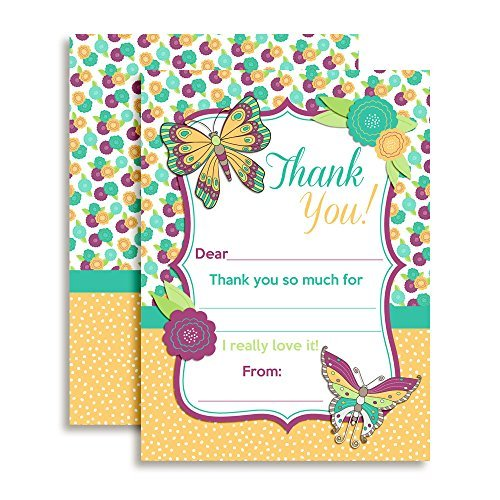 Butterfly Birthday Thank You Notes for Kids, Ten 4\