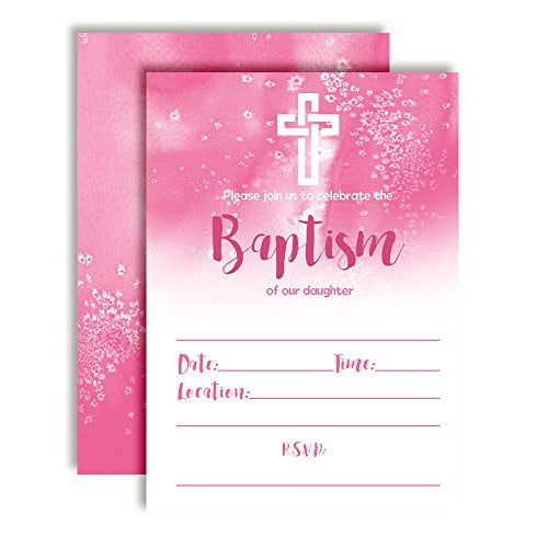Pink Watercolor Baptism Invitations for Girls, 20 5\