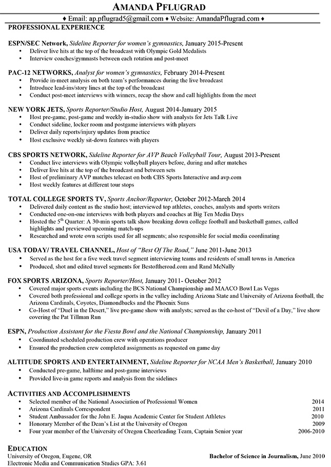Broadcasting Resume \u2013 Amanda Pflugrad