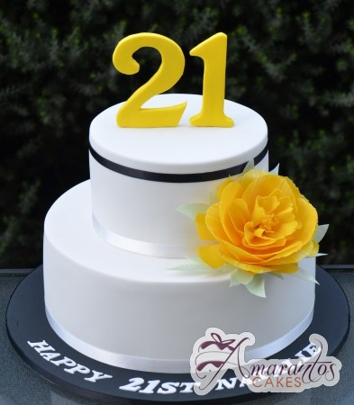 21st Birthday Cake with Flower - Amarantos Cakes Melbourne
