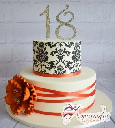 Two Teir With Damask Cake - Amarantos Designer Cakes Melbourne
