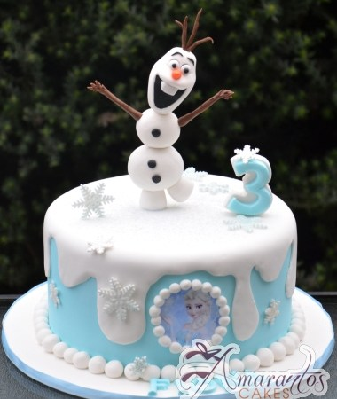 Base cake with Olaf - NC626 - Amarantos 1st Birthday Cakes Melbourne