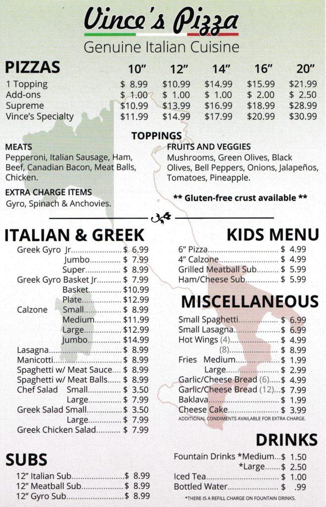 Vince\u0027s Italian Pizza Menu - italian menu