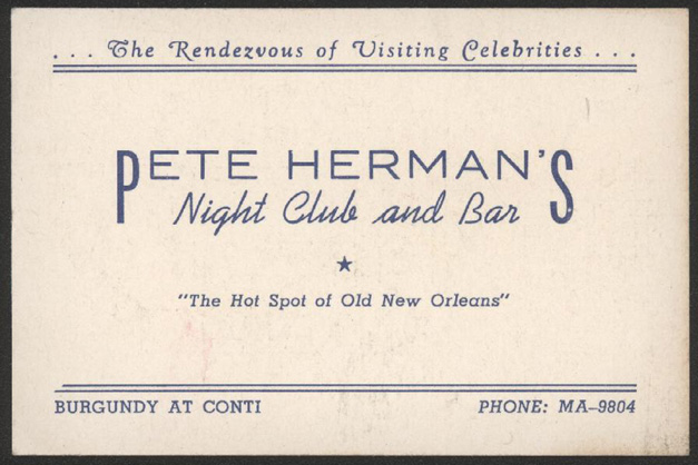 Pete Hermanu0027s Night Club and Bar Vintage Business Cards - Official Letterhead