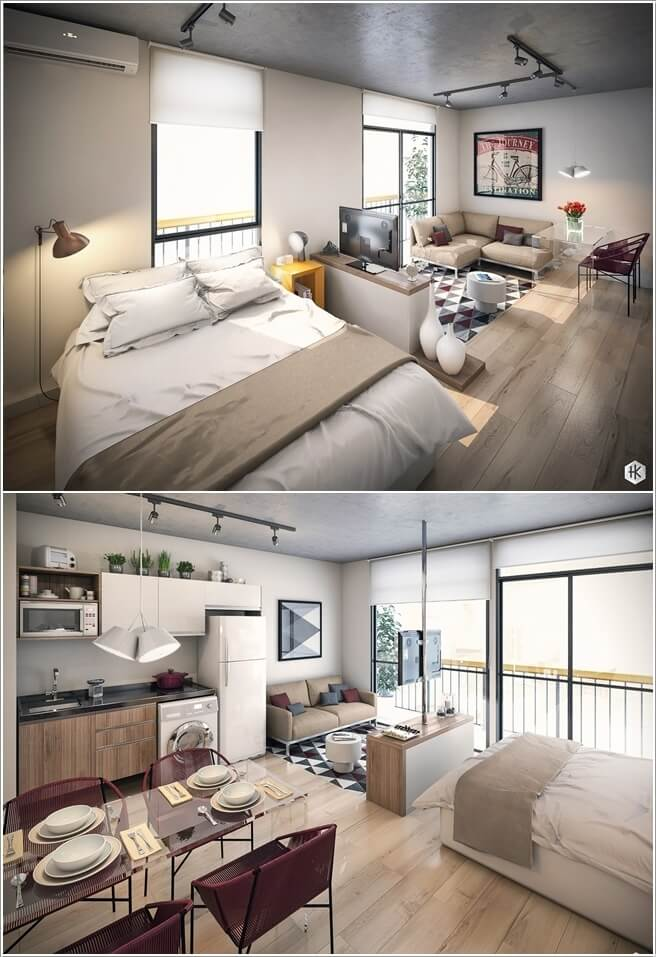 Clever Ways to Design a Living Room and Bedroom Combo - bedroom living room combo