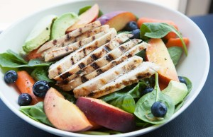 Spinach, Peaches and Chicken Summer Salad