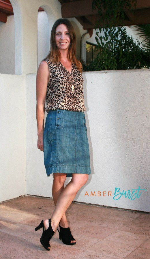 Cheetah print sleeveless top with denim pencil skirt and black peep-toe booties