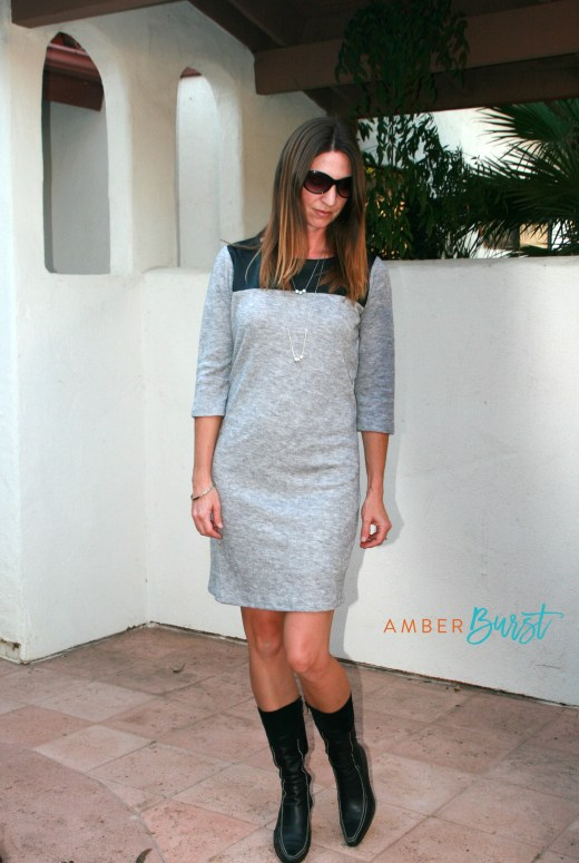 Stitch Fix gray dress with leather detail