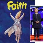 FAITH cover next to Hillary Clinton wearing Armani. Photo: EPA/JOSH HANER / THE NEW YORK TIMES / POOL