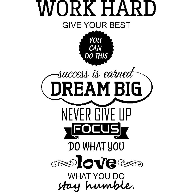 Zen Quote Wallpaper Sticker Work Hard Dream Big Stickers Citations Anglais