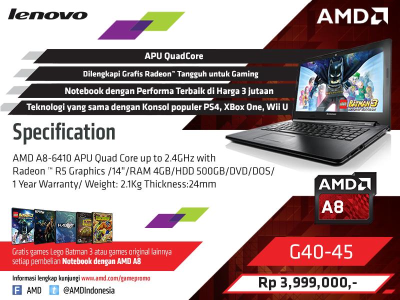 Lenovo G40-45 A8-6410 Quad Core