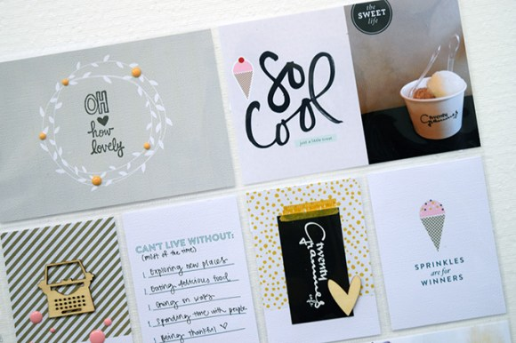 Learn about experimenting with hybrid digital scrapbooking! | Scoop kit from One Little Bird, spread by Amelia Ng