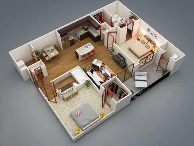 50 Plans 3D d\u0027appartement avec 2 chambres - Plan De Maison En 3d