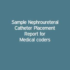 Sample Nephroureteral Catheter Placement Report for Medical coders