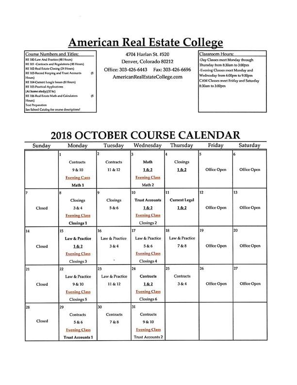 Calendar Class 2016 American Real Estate School College School - Calendar Class