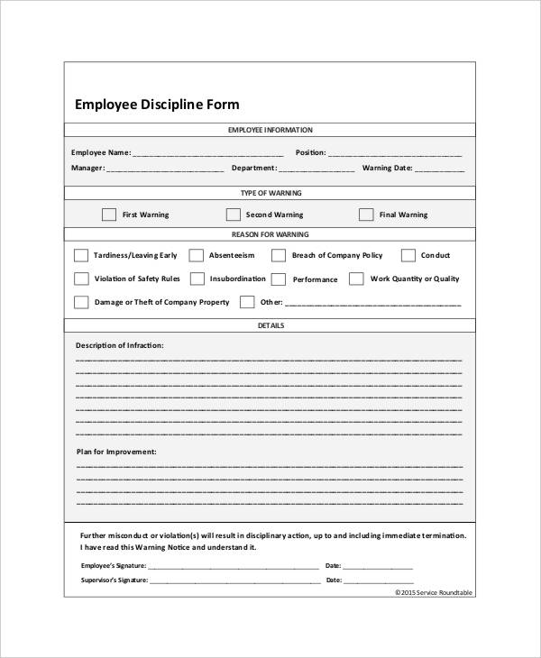 free write up forms for employees