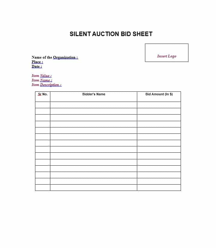 21+ Silent Auction Bid Sheets Free Download Word, Excel 2019